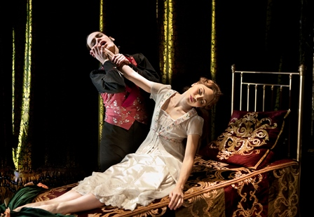 Caradoc and the sleeping Aurora in Matthew Bourne's 'Sleeping Beauty.