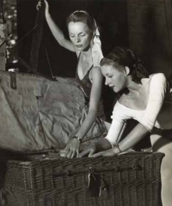 Maggie Scott (right) and Sally Gilmour unpacking Ballet Rambert costumes, Melbourne 1947