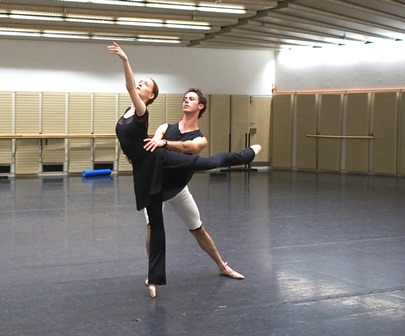 Gillian Murphy and Rudy Hawkes rehearsing 'La Bayadère'. Photo © Kate Longley