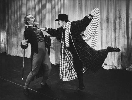 Jon Trimmer as the wealthy Pantalone and Harry Haythorne as Dr Lombardi in 'A Servant of Two Masters'