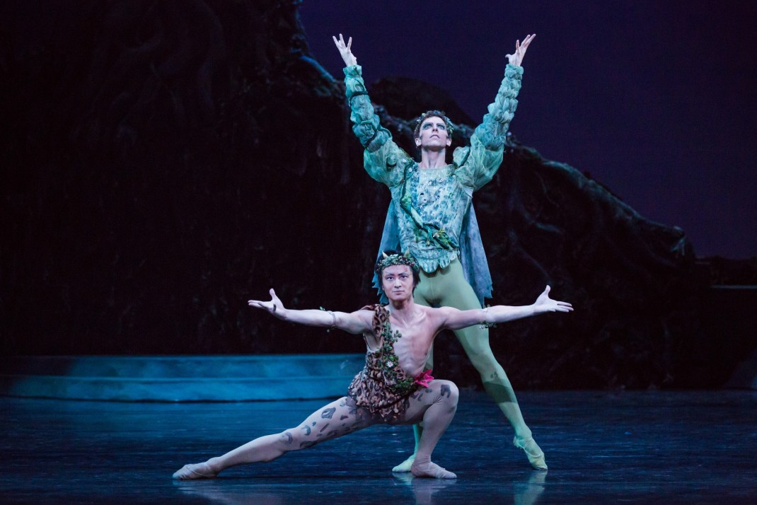 Chengwu Guo as Puck and Kevin Jackson as Oberon in Frederick Ashton's 'The Dream', the Australian Ballet, 2015. Photo: Daniel Boud