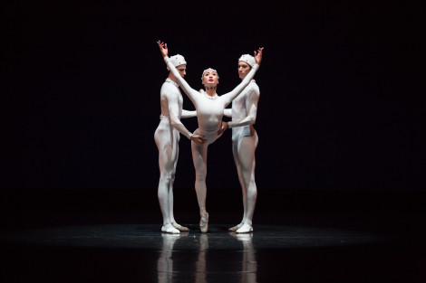 Jared Wright, Natasha Kusen and Brett Simon in 'Monotones II'. The Australian Ballet, 2015. Daniel Boud