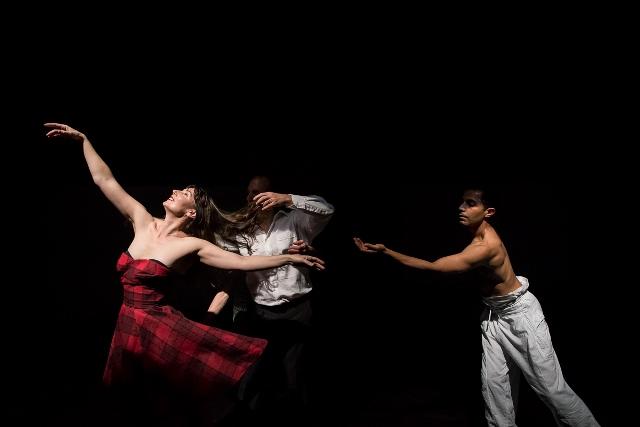 Nalina Wait, Martin del Amo and Raghav Handa in 'On View. Live Portraits', 2015. Photo Gregory Lorenzutti