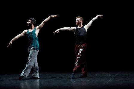 Dancers Brigel Gjoka and Riley Watts in 'DUO2015'. Photo by Carl Fox