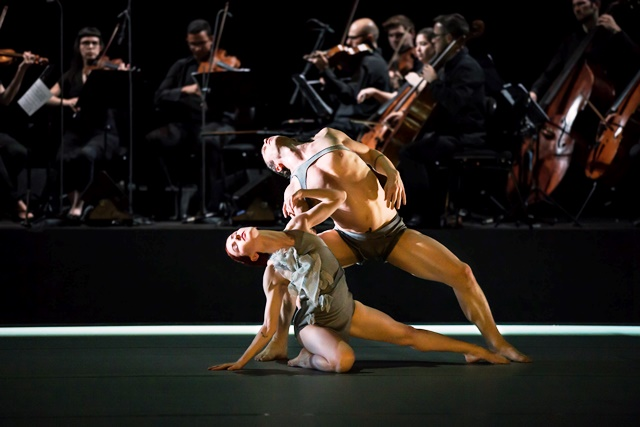 Jesse Scales and David Mack in 'Variation 10'. Sydney Dance Company, 2015. Photo: Peter Grieg