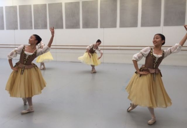 Coppelia's friends in rehearsal, Australian Conservatoire of Ballet, 2015