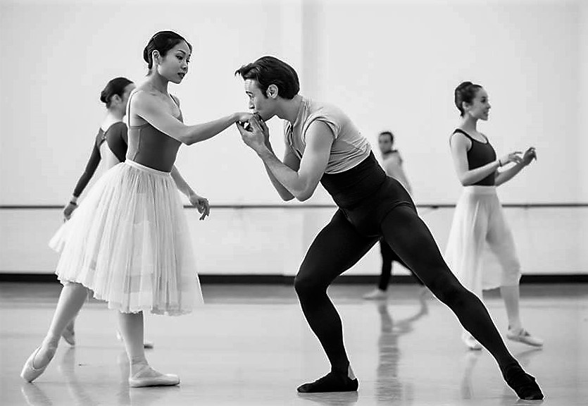 Daniel Gaudiello and Mayu Tanigaito in rehearsal for 'Giselle', Royal New Zealand Ballet, 2016