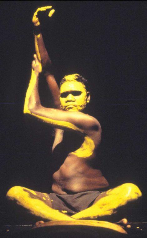 Djakapurra Munyarryun in Ochres, Bangarra Dance Theatre 1995. Photo Tim Webster