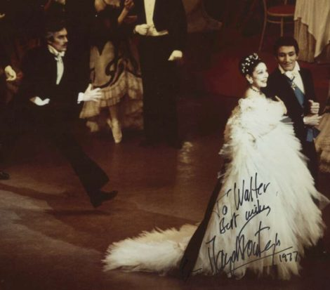 Margot Fonteyn with Kelvin Coe and John Meehan in 'The Merry Widow', 1977. Photo Walter Stringer
