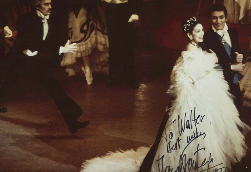 Margot Fonteyn with Kelvin Coe and John Meehan in 'The Merry Widow', 1977. Photo Walter Stringer