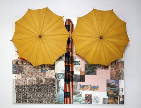 Untitled (Spread) 1983 Solvent transfer and acrylic on wood panel, with umbrellas 188.6 x 245.7 x 88.9 cm © Robert Rauschenberg Foundation, New York