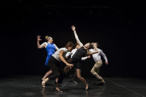 Dancers of Australian Dance Party in. 'Weave hustle and halt', 2017. Photo: Lorna Sim