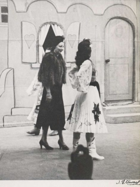 Tamara Tchinarova in costume for the Mazurka in Coppelia with Xenia Borovansky before curtain up, Borovansky Ballet, ca. 1946. Photo Jean Stewart