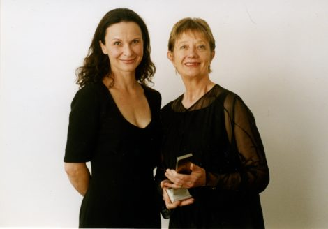 Michelle Potter and Tara Morice at the 2001 Australian Dance Awards. Photo Richard Merchant