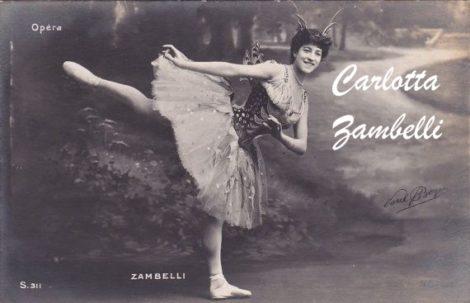 Postcard showing Italian ballerina Carlotta Zambelli
