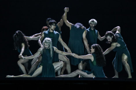 Dancers of Australian Dance Theatre in 'The Beginning of Nature', 2018. Photo: Chris Herzfield