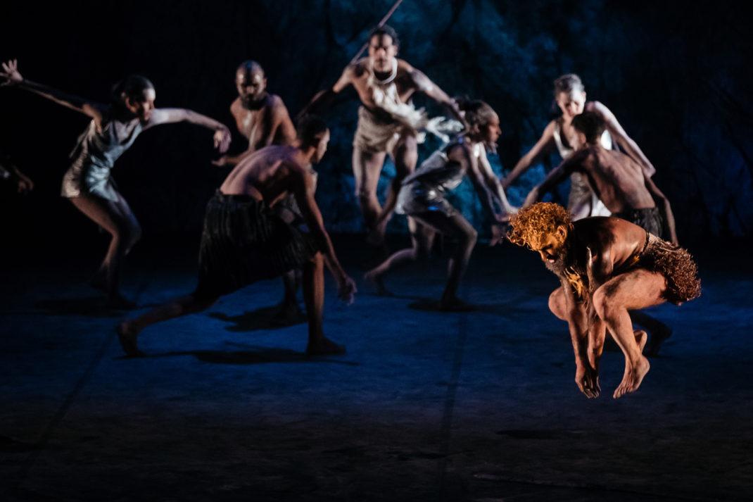 Beau Dean Riley Smith and dancers of Bangarra Dance Theatre in 'Dark Emu', 2018. Photo: Dancers of Bangarra Dance Theatre in 'Dark Emu', 2018. Photo: © Daniel Boud