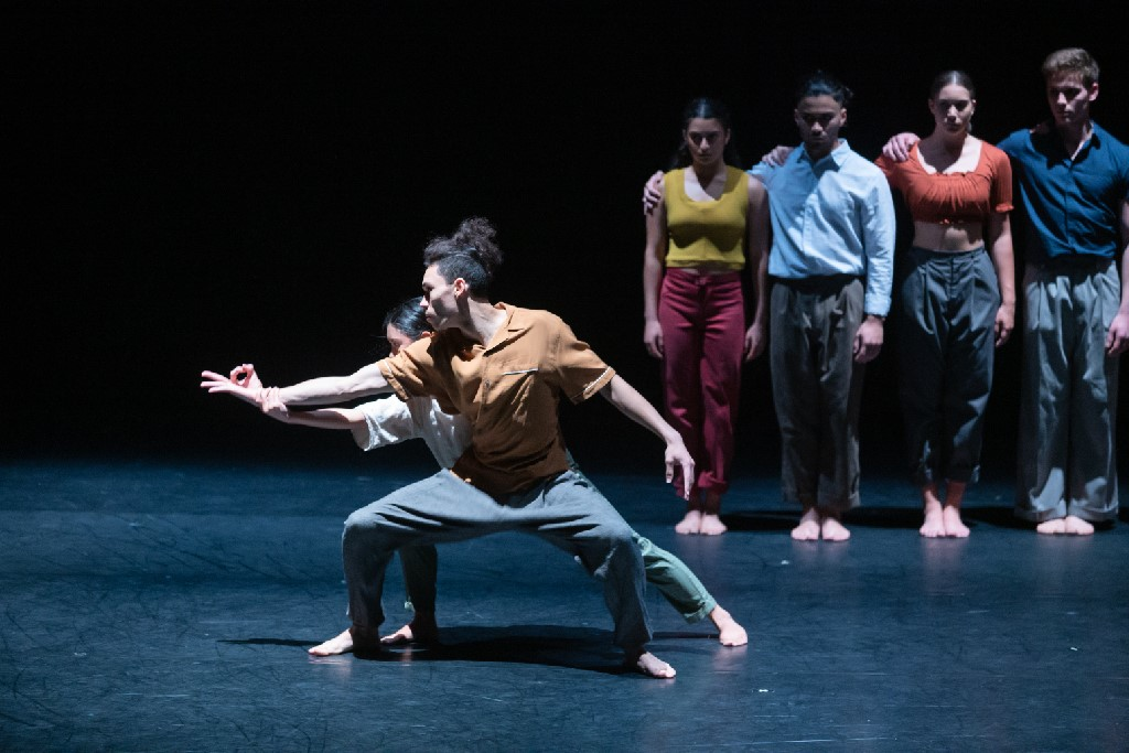 Jareen Wee and Chris Clegg with dancers of NZSD in Adam Barrach's 'It's Written in the Walls. NZSD Graduation 2018. Photo: © Stephen A'Court