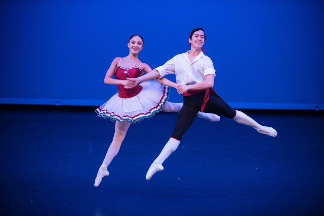 Brittany Jayde Duwner and Rench Soriano in George Balanchine's 'Tarantella'. New Zealand School of Dance Graduation, 2018. Photo: Stephen A'Court