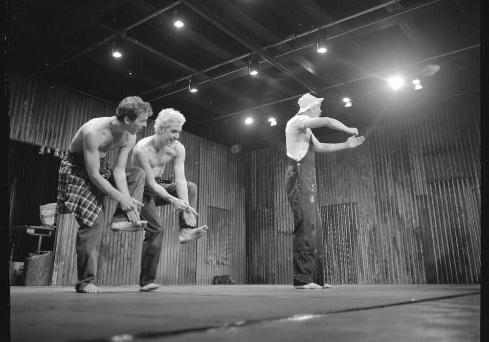 Dancers from Paige Gordon and Performabnce Group in 'shed. A place where men can dance', Canberra 1996. Photo Loui Seselja
