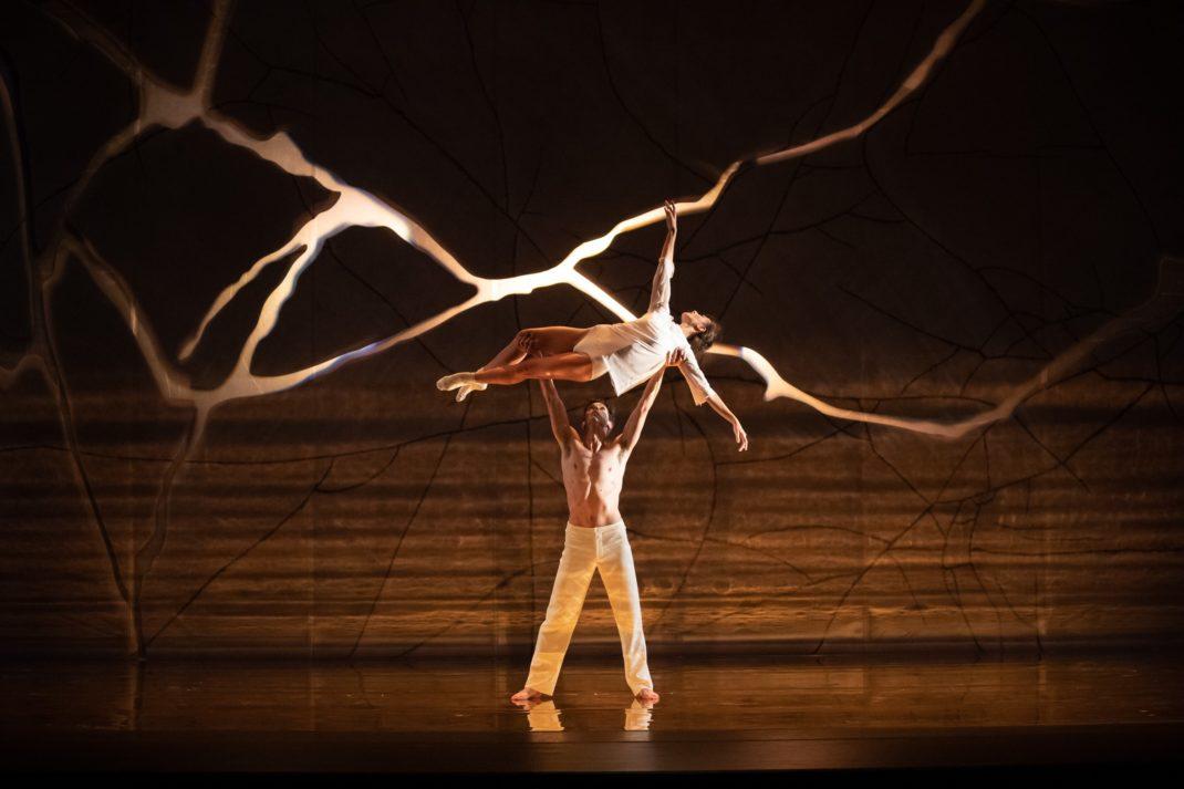 Andrew Killian and Dimity Azoury in Alice Topp's 'Aurum'. The Australian Ballet, 2019. Photo: © Daniel Boud