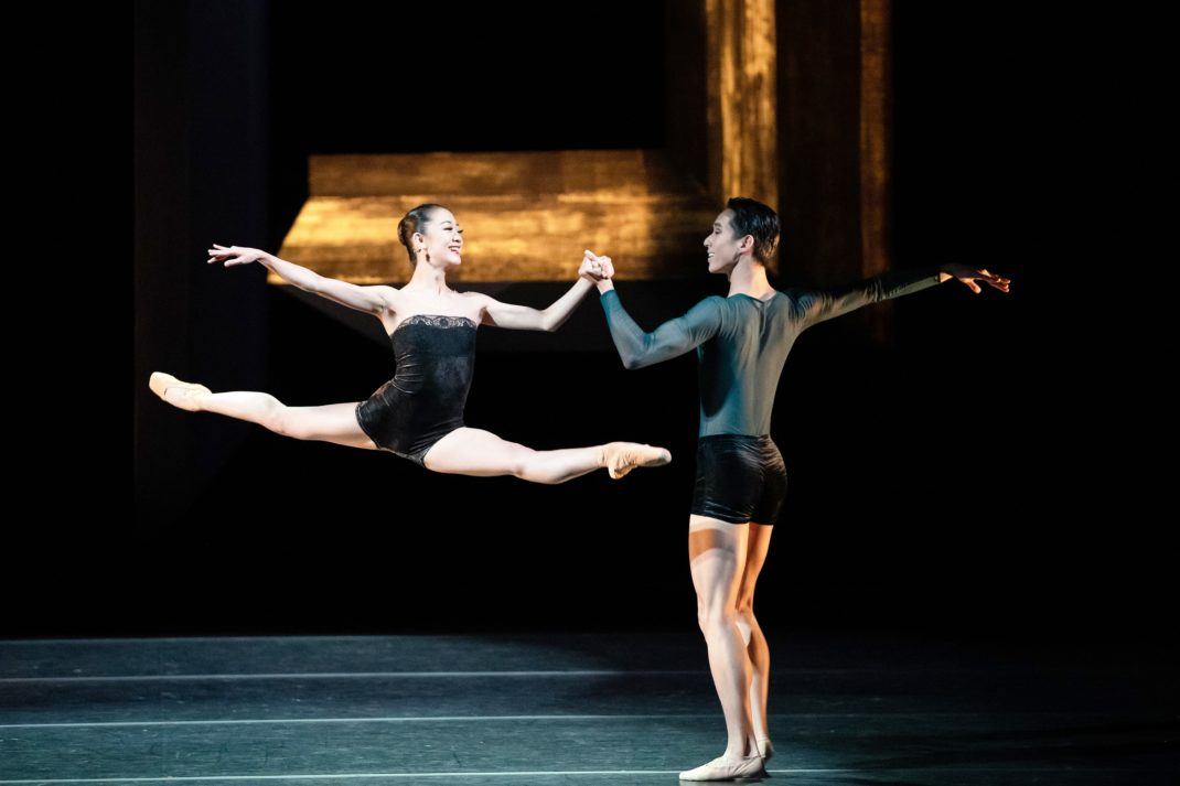 Yuumi Yamada and Lucien Xu in Stephen Baynes' 'Constant Variants'. The Australian Ballet, 2019. Photo: Daniel Boud