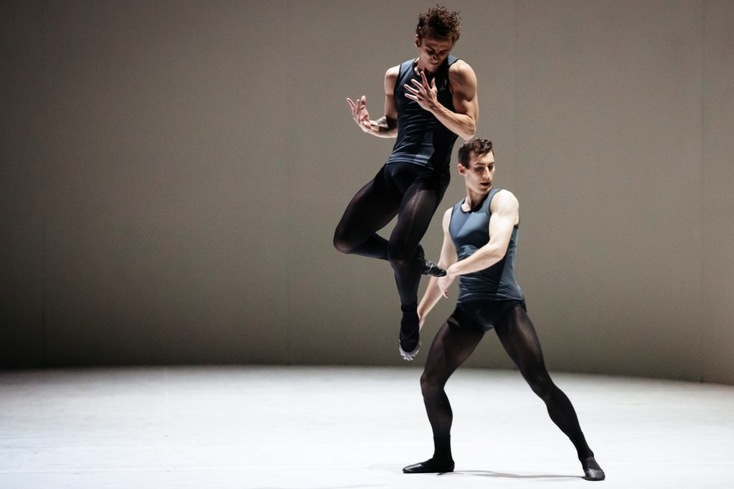 Marcus Morelli and Brett Chynoweth in Tim Harbour's 'Filigree and Shadow'. The Australian Ballet, 2019. Photo: Ako Kondo, Andrew Killian and Cristiano Martino in Stephen Baynes' 'Constant Variants'. The Australian Ballet, 2019. Photo: © Daniel Boud