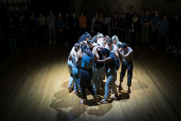 NZSD Choreographic Season 2019. NZSD dancers in 'Huddle'. Photo: © Stephen A'Court