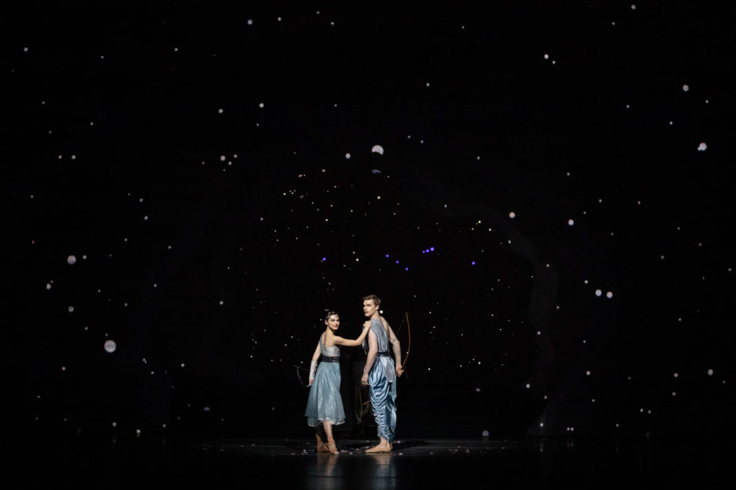 Dana Stepehensen and Brodie James as Artemis and Orion in 'Sylvia'. The Australian Ballet, 2019. Photo Daniel Boud