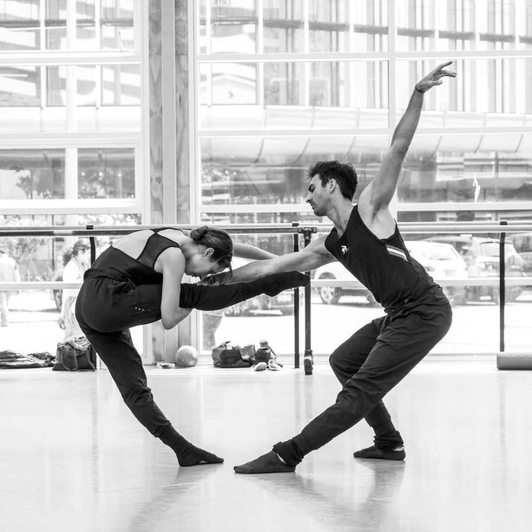 Madeleine Graham and Allister Madin in rehearsal for Alice Topp's 'Aurum'. Royal New Zealand Ballet, 2020. Photo: © Jeremy Brick