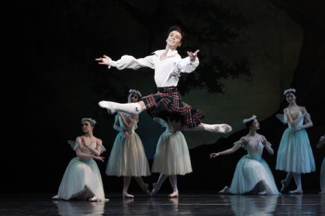 Daniel Gaudiello as James in 'La Sylphide', Act II. The Australian Ballet, 2013. Photo: © Jeff Busby