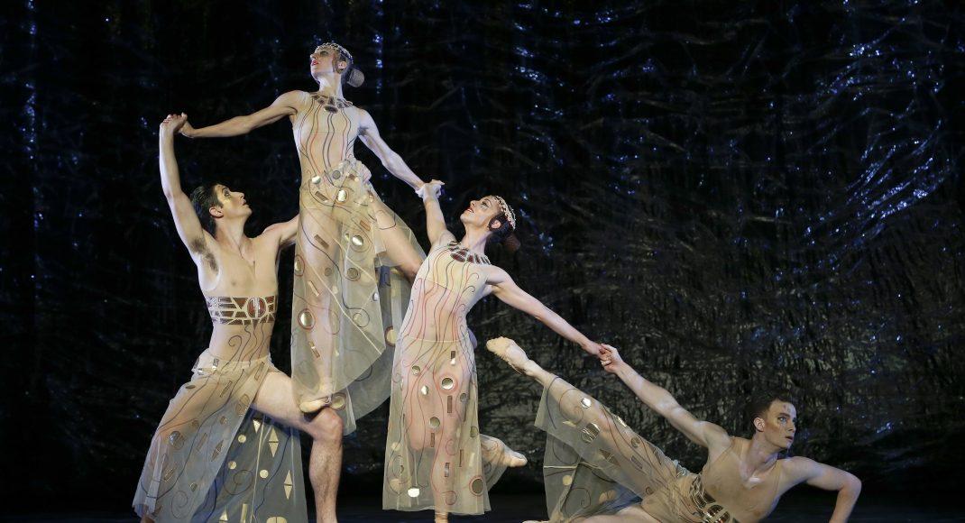 Brodie James, Lana Jones, Leanne Stojmenov and Jarryd Madden in 'Shéhérazade'. The Australian Ballet, 2018. Photo: © Jeff Busby