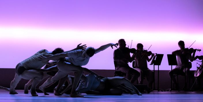 Dancers of Sydney Dance company with the Australian String Quartet in 'Impermanence', 2021. Photo: © Pedro Greig